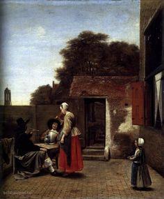 """Painting """"Een Nederlandse Courtyard"""" by Pieter de Hooch - www.schilderijen.nu"""