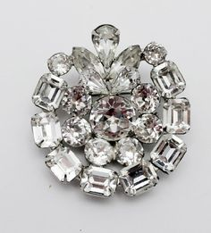 Vintage Weiss Brooch Clear Rhinestones by HeirloomBandB on Etsy, $70.00