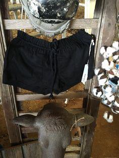 Black Linen Rope Shorts