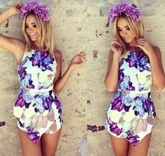 2014 New Fashion Floral Print Jumpsuit Women Skirt Shorts Halter Overall Tank Sexy Hollow Out Summer Playsuit Feminino Rompers Floral Playsuit, Floral Jumpsuit, Jumpsuit Dress, Bodycon Jumpsuit, Beach Playsuit, Summer Jumpsuit, Short Jumpsuit, Dress Summer, Backless Playsuit