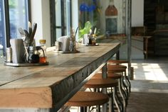 Nice long communal rustic table at Pittsford Village Bakery.