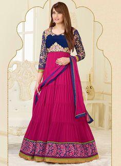 Bipasha Basu Magenta Resham Border Work Anarkali Suit Product Code :5829 shop now   http://www.sareesaga.com/bipasha-basu-magenta-resham-border-work-anarkali-suit-5829