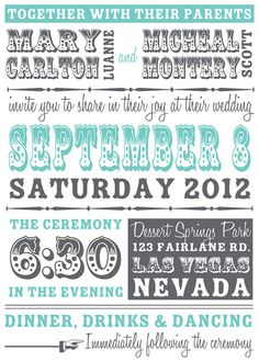 DIY Poster Style Wedding Invitation and RSVP by DesignsMadeEasy, $18.00