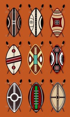 Buy Masai Shield Vector Designs by ragerabbit on GraphicRiver. Masai Shield Vector Designs This set is a vector illustration and can be scaled to any size without loss of resolutio. African Art Projects, African Crafts, African Art For Kids, South African Art, African Artwork, African Art Paintings, African Symbols, African Tribes, African Tattoo