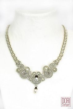 delicate bridal necklace with Swarovski crystals, Swarovski pearls, Swarovski cup chains, glass beads* necklace size 48 cm* center element 9 cm x 5 cm* 2 button clasp Soutache Necklace, Bridal Necklace, Pearl Drop Earrings, Pearl Necklaces, White Necklace, Necklace Sizes, Swarovski Pearls, Beaded Jewelry, Jewellery