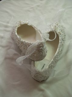 Wedding Ballerina Slippers Regally enhanced with lace Swarovski Crystals and Pearls