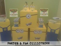 Minions Birthday  Candy table.  to make order call us or whatsapp 01111075044 facebook: partiesandfunegypt.