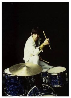 Keith Moon - early photo playing Rogers drum kit.