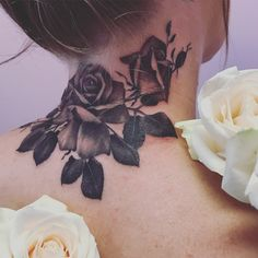 15 Most Attractive Neck Tattoos for Girls - Rose neck tattoo black and grey by Malika Rose - Back Of Neck Tattoos For Women, Neck Tattoos Women, Girl Neck Tattoos, Head Tattoos, Rose Tattoos, Body Art Tattoos, Floral Tattoos, Neck Tattoo Cover Up, Flower Neck Tattoo