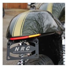 An NRC LED Fender Eliminator will give your ride a custom look. It includes sleek flush mount LED turn signals and a CNC machined license plate mount. Cafe Racer Girl, Cafe Racer Build, Triumph Thruxton 900, Café Racers, Rage, Led, Wheels, Inspirational, Awesome