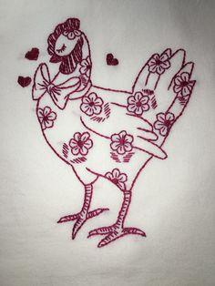 DAISY  HEN - NEW Hand embroidered 30 X 30 flour sack kitchen dish towel #Handmadewithnewmaterials