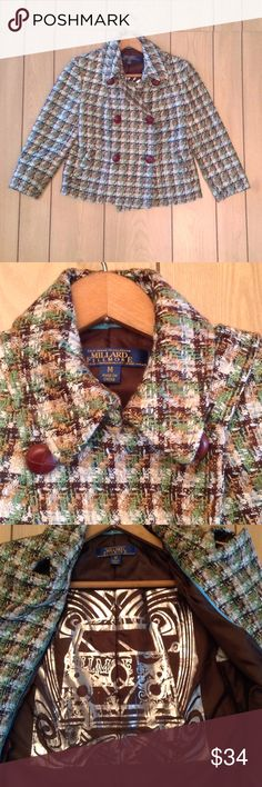 """Millard Fillmore Women's Tweed Crop Jacket Size M Millard Fillmore Women's Tweed Crop Jacket Size Medium  Preowned , Good Condition  Dry Clean Only  Length : 21 """" Bust :34 """" Sleeve Length : 19"""" Sleeve Opening : 8"""" 2 Faux Pockets  Shell : 100 % Acrylic , Lining : 100 % Polyester  Colors : Brown , Cream , Gold , Green Millard Fillmore Jackets & Coats"""