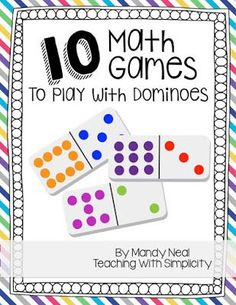 Upper Elementary Snapshots: 10 Math Games to Play with Dominoes Kindergarten Math Games, Fun Math Games, Math Tutor, Math Classroom, Math Activities, 4th Grade Math Games, Learning Games, Mental Maths Games, Math Games With Dice