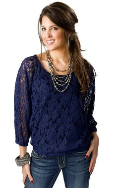 Ariat Women's Ocean Blue Lace Banded 3/4 Sleeve Fashion Top
