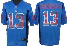 New York Giants #13 Odell Beckham Jr Blue Strobe Nike Limited Jersey