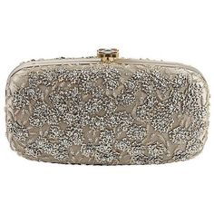 Oscar de la Renta Gold Embroidered Clutch (24,390 MXN) ❤ liked on Polyvore featuring bags, handbags, clutches, purses, bolsas, gold evening clutches, gold evening handbags, brown handbags, oscar de la renta purse and cocktail purse