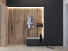 Dark gray and natural wood tones. Modern accents in - gray # entrance # wood tones # Informations About Skandinavischer moderner Eingang. Modern Entrance, Modern Entryway, House Entrance, Entrance Hall, Entrance Design, Entryway Cabinet, Entry Hallway, Entryway Lighting, Entryway Decor