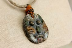 Handmade Tribal Necklace w/ Mask Pendant  w/ by EtinifniCreations, $38.00