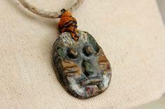 Handmade Tribal Necklace w/ Mask Pendant  w/ by EtinifniCreations, $38.00