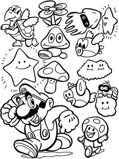 Cute and Complete Super Mario Coloring Pages. The name of Super Mario is of course so popular in the kids' world. In fact, Super Mario is a series of fantasy pl Coloring Pages To Print, Free Printable Coloring Pages, Coloring Book Pages, Coloring Pages For Kids, Coloring Sheets, Kids Colouring, Free Printables, Freebies Printable, Coloring Pictures For Kids