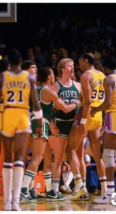 Larry Bird, Dennis Johnson and Michael Cooper and Kareem Abdul Jabbar - Los Angeles Lakers