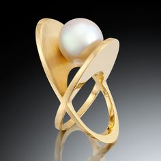 "Ring | Adam Neeley.  ""XOXO"".  18k yellow gold with South Sea pearl"