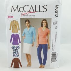 Plus Size Close-Fitting Pullover Tops Sewing Pattern Sz 14-22 McCalls 6513 UNCUT…