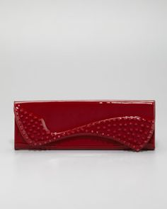 V1KJW Christian Louboutin Pigalle Spikes Patent Clutch Bag, Red