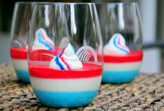 "Red, White and Blue Panna Cotta ~ a tasty dessert for 4th of July celebrations ~ via this blog, ""Baking Bites""."