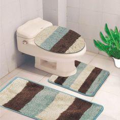 Denise 3 Piece Striped Bath Rug