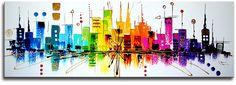 Schilderij Colourful Skyline | Schilderijen kopen bij Kunst Voor Jou