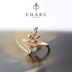 0.44 Carat Round & Marquise Diamond Valentine Day's Wedding Ring , 18k Rose Gold #charujewels #Journey #Wedding