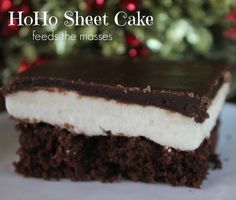 HoHo Sheetcake  Here's a fun Christmas recipe that everyone will love! Delicious and easy to make. Click through for the recipe..  Sisters Shopping on a Shoestring