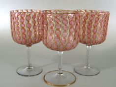 Antique Venetian Murano Glass Goblets c.1900 Zanfirico Latticino from Stone House Antiques Exclusively on Ruby Lane