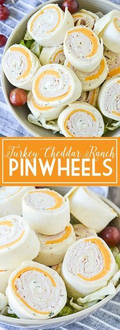 Ditch the same old same old sandwich and try these easy and delicious Turkey Cheddar Ranch Pinwheels perfect for lunch, snack or on the go! Pool Snacks, Snacks Für Party, Appetizers For Party, Appetizer Recipes, Snack Recipes, Cooking Recipes, Pinwheel Appetizers, Parties Food, Beach Food Recipes
