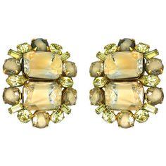 Pre-owned Hattie Carnegie Earrings ($285) ❤ liked on Polyvore featuring jewelry, earrings, clip-on earrings, vintage jewelry, clip on earrings, vintage rhinestone earrings, rhinestone stud earrings and hattie carnegie earrings