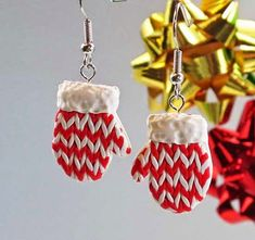 These DIY Polymer Clay Faux Knit Mitten Earrings make a unique homemade stocking stuffer gift!