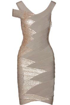 HERVÉ LÉGER  Sequin-embellished bandage dress