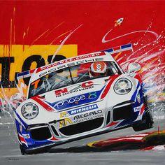 Warren Luff Porsche Carrera Cup Car Painting by Australian Artist Merry Sparks http://merrysparks.com/porsche-911-gt3-cup-type-991-warren-luff/