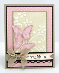 Stampin' Up Card- Don't love the pink color here, but cute card, and love this technique where you ink the embossing folder first, then run through! Shows on the negative space, and edges of the embossed area.Stampin' Up Elegant Bouquet embossing fol Butterfly Cards, Flower Cards, Pink Butterfly, Cute Cards, Diy Cards, Tarjetas Diy, Stampin Up Karten, Embossed Cards, Friendship Cards