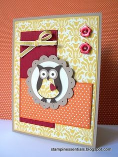 Stampin' Up! Owl Punch card using the Owl Builder Punch (118074).  Order Online: essentials.stampinup.net