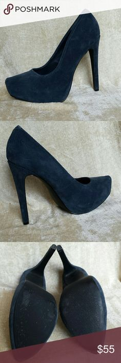 """Kelsi Dagger,  Brette,  sz 6.5 NEW Pretty medium navy blue heels in genuine suede.  The final pic shows the best color.  Bought when the pointy toe trend was in full swing but that look doesn't suit me.   Worn only once, but basically prefect.  Fits true to size.  5"""" heel,  1.25 """" hidden platform.  I also have the grey up for sale. Kelsi Dagger Shoes Heels"""