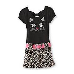 WonderKids Infant & Toddler Girl's Drop Waist Dress - Leopard Print & Cat