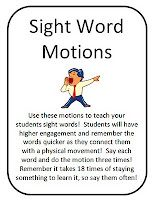 FREE pre-primer and primer Sight Word Motions