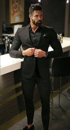 Superb places to visit de 2019 mens clothing styles, mens fashion suits e s Blazer Outfits Men, Mens Fashion Blazer, Stylish Mens Outfits, Suit Fashion, Blazer Suit, All Black Suit, Black Outfit Men, All Black Tuxedo, Formal Attire For Men
