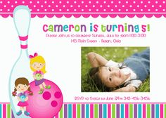 Bowling Girl Birthday Baby Shower Invitation Thank You Note Favors Address Labels Custom Photo (Powered by CubeCart) Photo Birthday Invitations, Card Birthday, Baby Shower Invitations, Thank You Notes, Custom Labels, Address Labels, Custom Photo, Bowling, Photo Cards