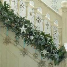 Beautiful staircase decor for a winter wonderland theme...