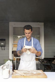Check out Dallas Chef, Brady Williams sporting the Calder Work Shirt in his interview with EATER. Be on the lookout for Brady in an upcoming Man Of The Hour session! Photo by Sara Kerens Light Denim Shirt, Bbq Apron, Working Man, Learn To Cook, Marry Me, Handsome, Cooking, Kissing, Gentleman