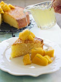 Coconut Lime Cake w/ Mango & Kaffir Lime Syrup