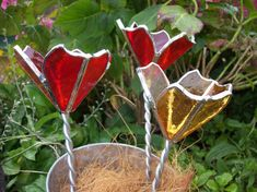 Stained Glass 3D Poppy Yellow and Red by Whyteglass on Etsy, £10.00